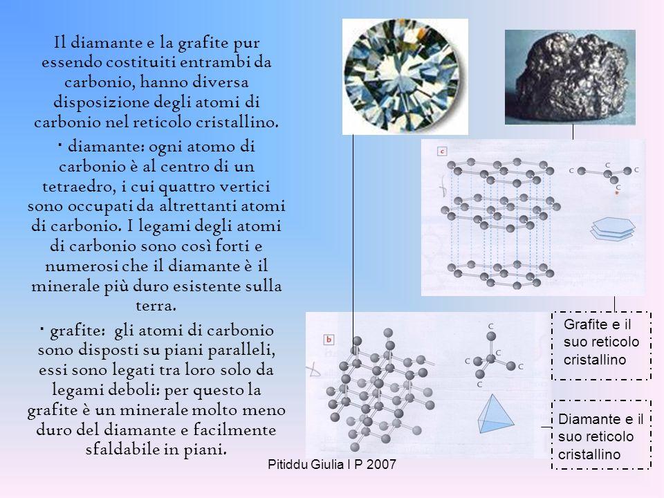 Il diamante e la grafite pur essendo costituiti entrambi da carbonio, hanno diversa disposizione degli atomi di carbonio nel reticolo cristallino.