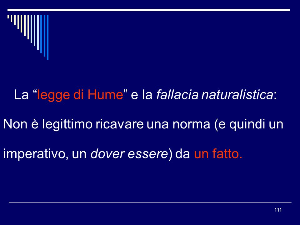 La legge di Hume e la fallacia naturalistica: