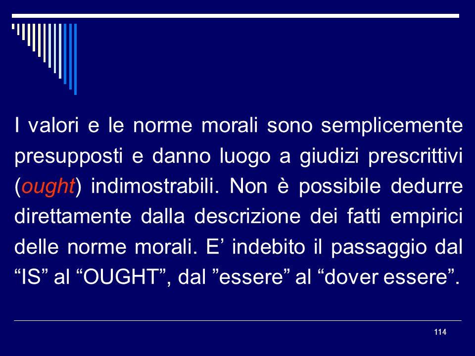 I valori e le norme morali sono semplicemente presupposti e danno luogo a giudizi prescrittivi (ought) indimostrabili.