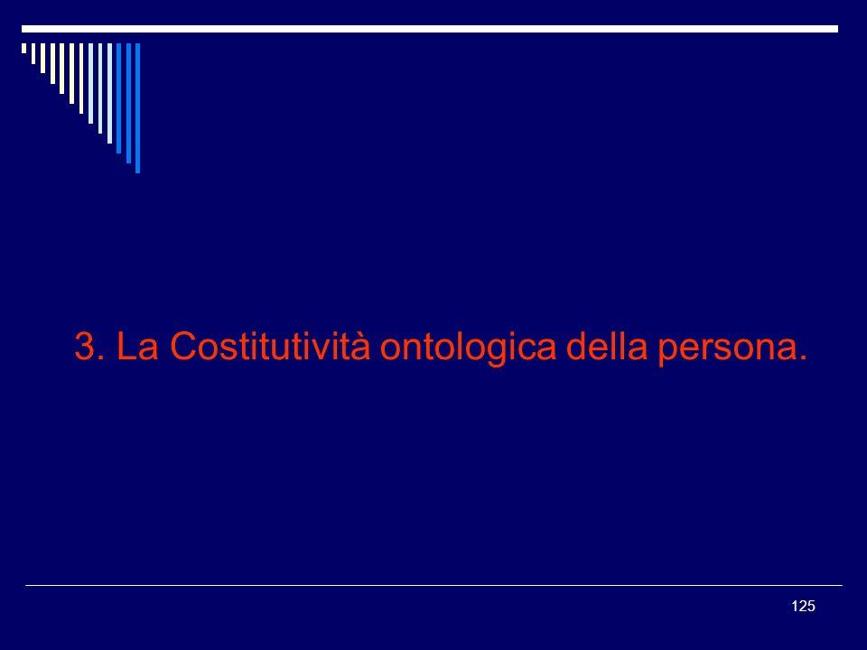 3. La Costitutività ontologica della persona.