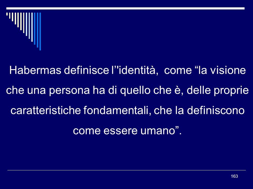 Habermas definisce l' identità, come la visione che una persona ha di quello che è, delle proprie caratteristiche fondamentali, che la definiscono come essere umano .
