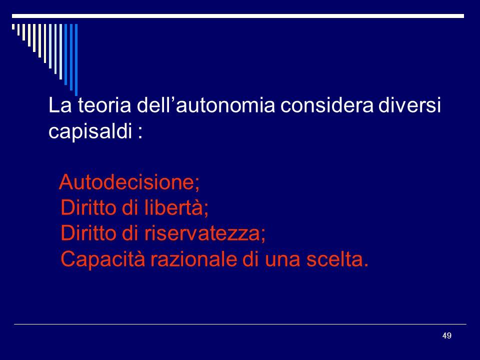 La teoria dell'autonomia considera diversi capisaldi :