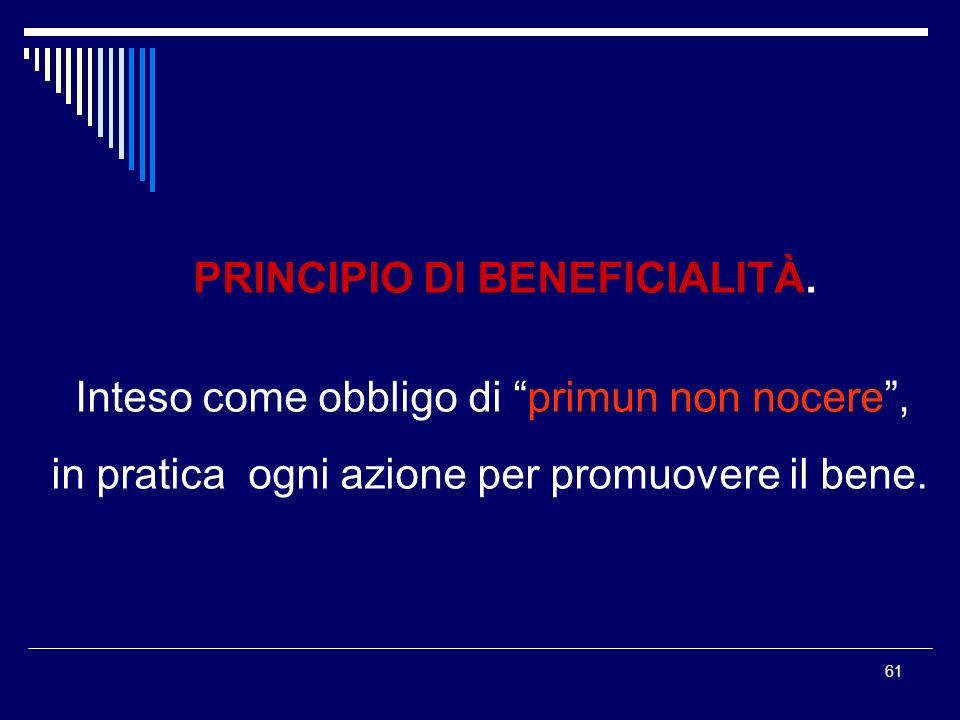 PRINCIPIO DI BENEFICIALITÀ.