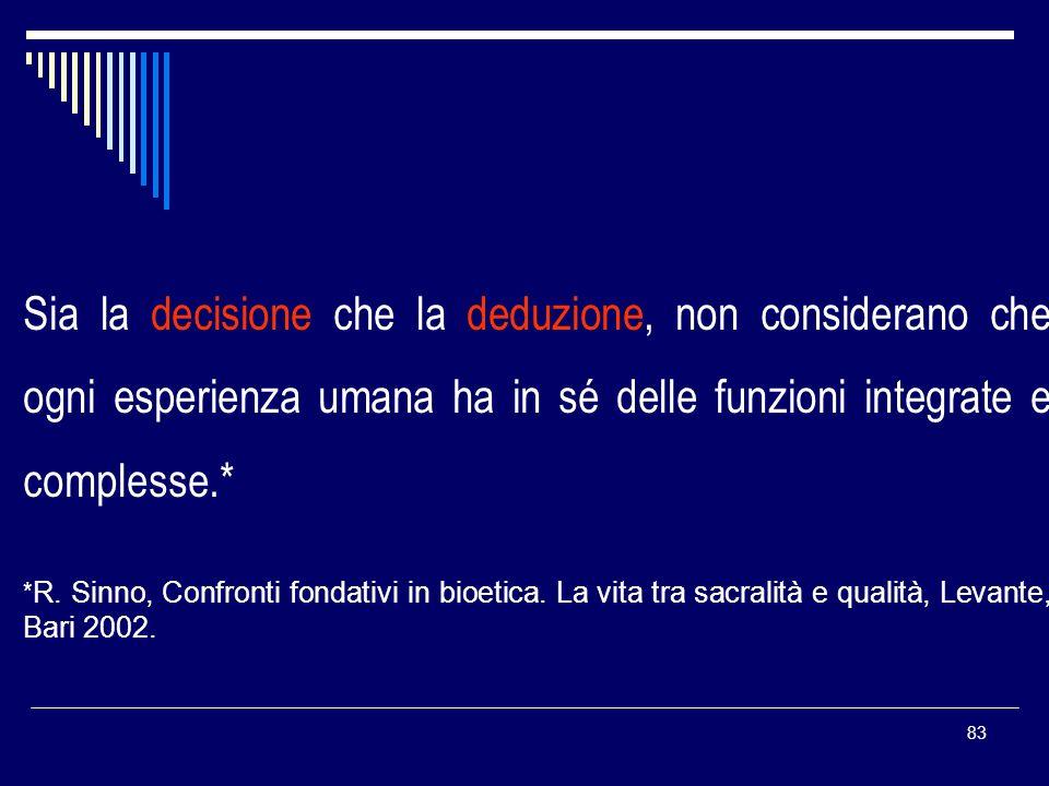 Sia la decisione che la deduzione, non considerano che ogni esperienza umana ha in sé delle funzioni integrate e complesse.*