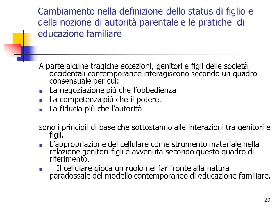 Cambiamento nella definizione dello status di figlio e della nozione di autorità parentale e le pratiche di educazione familiare
