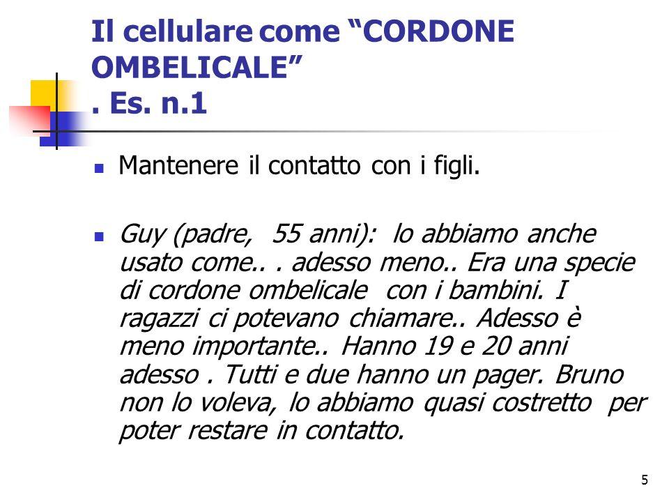 Il cellulare come CORDONE OMBELICALE . Es. n.1
