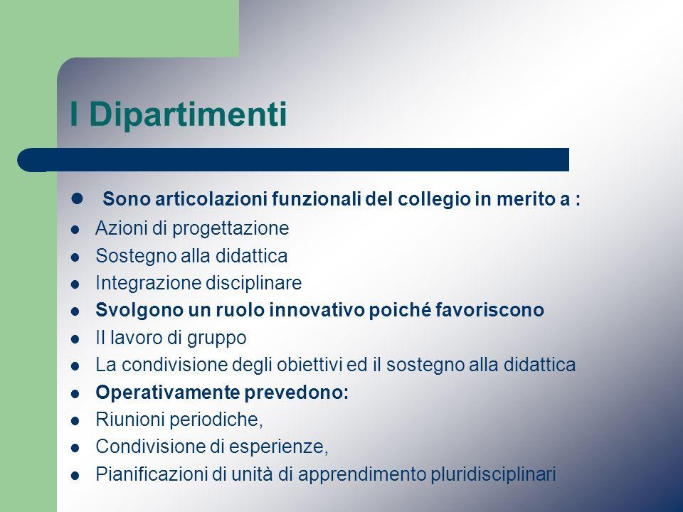 I Dipartimenti Sono articolazioni funzionali del collegio in merito a : Azioni di progettazione. Sostegno alla didattica.