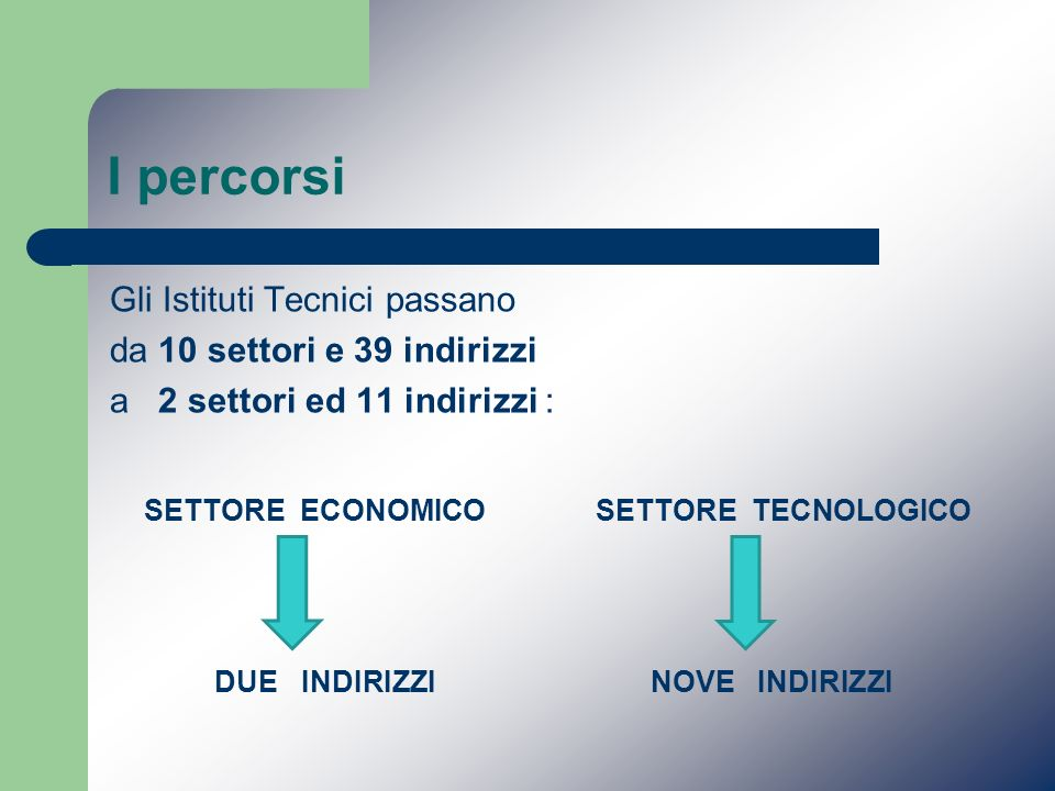 I percorsi SETTORE ECONOMICO SETTORE TECNOLOGICO
