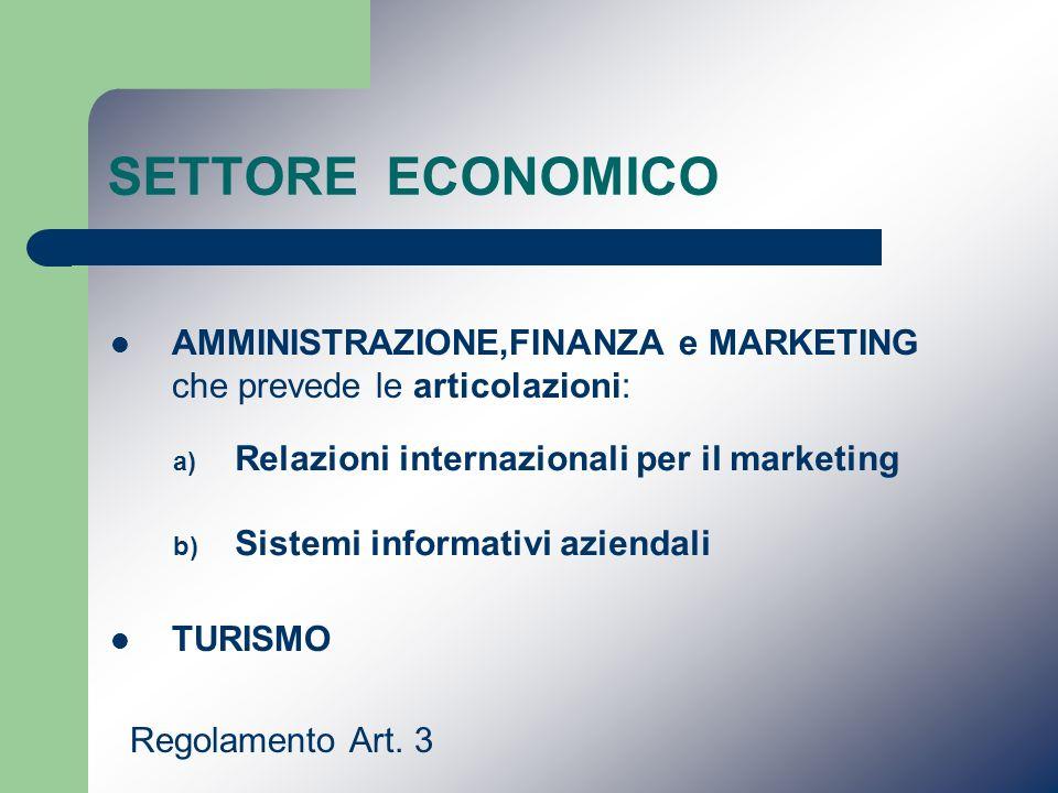 SETTORE ECONOMICO AMMINISTRAZIONE,FINANZA e MARKETING che prevede le articolazioni: TURISMO. Regolamento Art. 3.