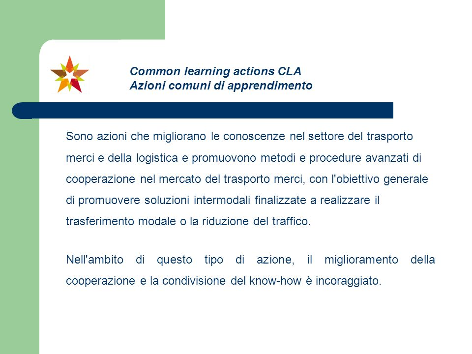 Common learning actions CLA Azioni comuni di apprendimento