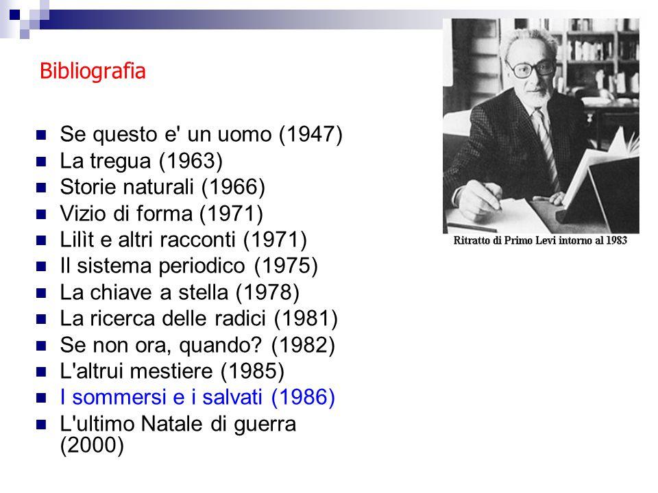 Bibliografia Se questo e un uomo (1947) La tregua (1963) Storie naturali (1966) Vizio di forma (1971)