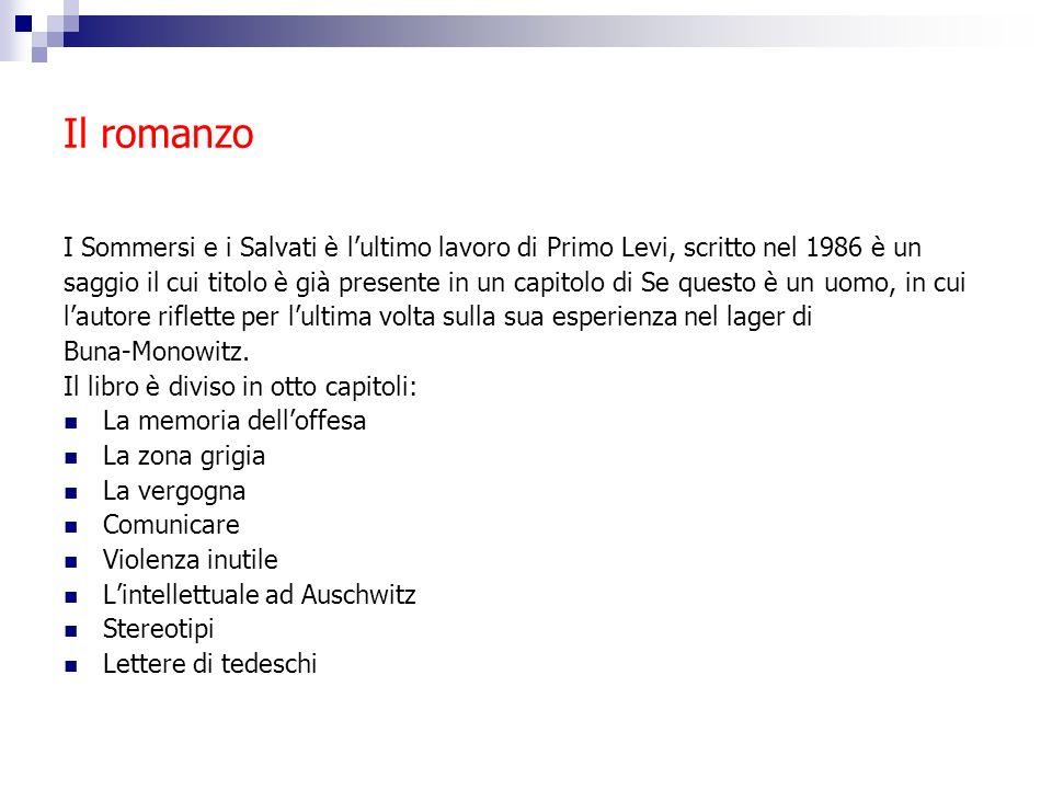 Il romanzo I Sommersi e i Salvati è l'ultimo lavoro di Primo Levi, scritto nel 1986 è un.