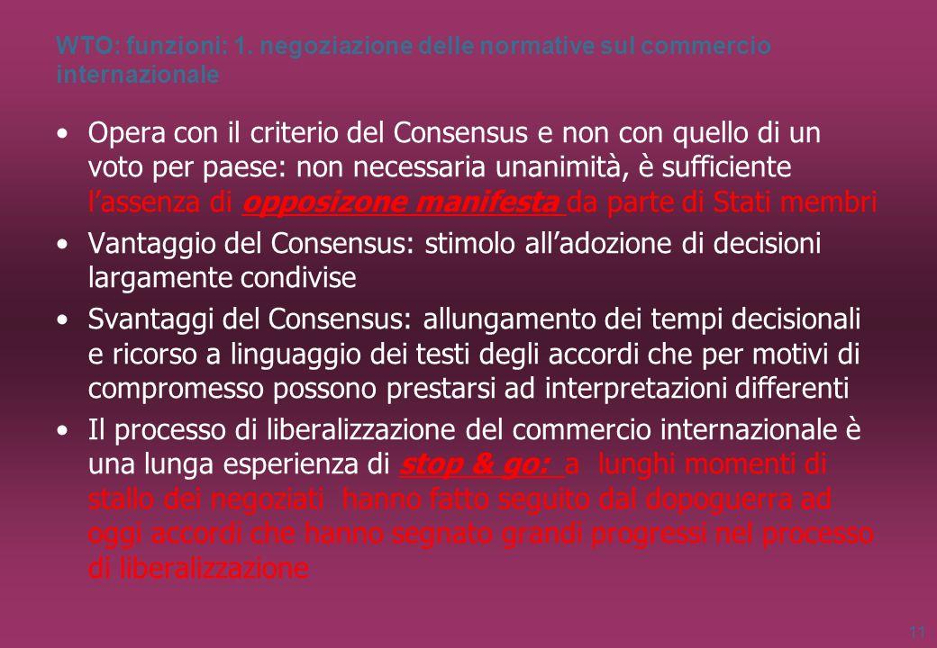 WTO: funzioni: 1. negoziazione delle normative sul commercio internazionale