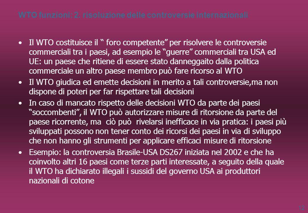 WTO funzioni: 2. risoluzione delle controversie internazionali