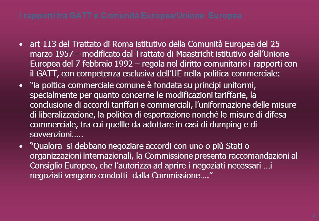 I rapporti tra GATT e Comunità Europea/Unione Europea