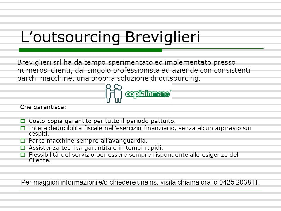 L'outsourcing Breviglieri