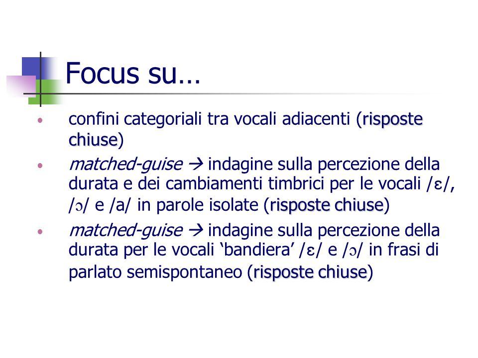 Focus su… confini categoriali tra vocali adiacenti (risposte chiuse)