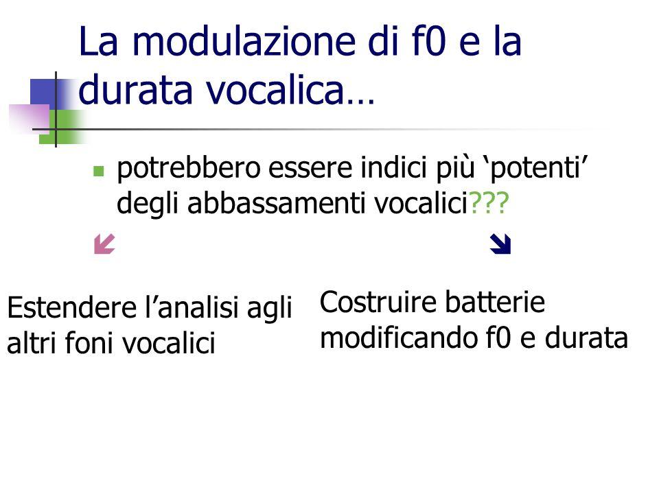 La modulazione di f0 e la durata vocalica…