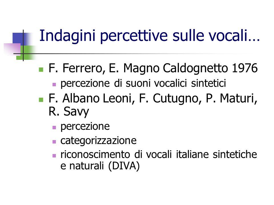 Indagini percettive sulle vocali…