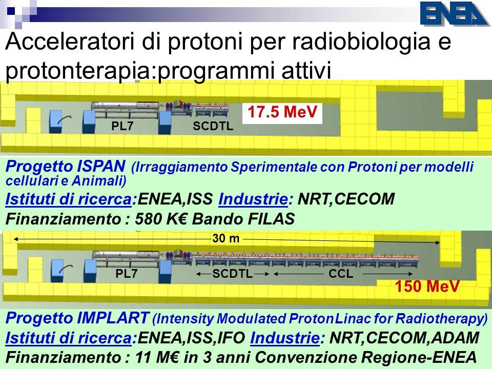Acceleratori di protoni per radiobiologia e protonterapia:programmi attivi