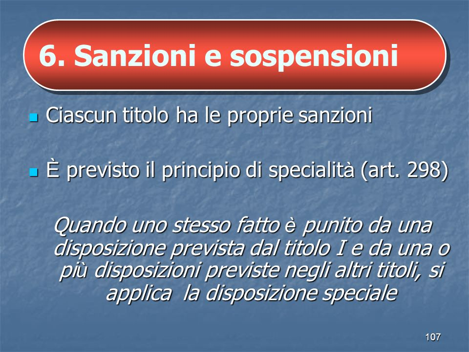 6. Sanzioni e sospensioni