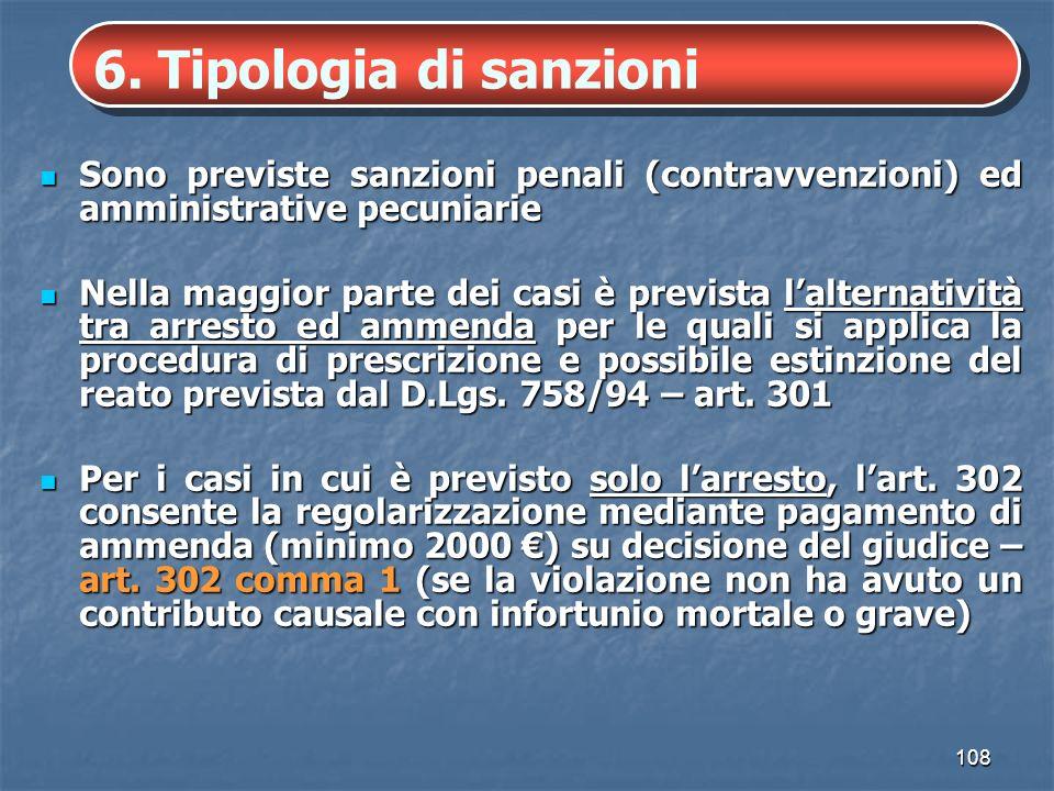 6. Tipologia di sanzioni Sono previste sanzioni penali (contravvenzioni) ed amministrative pecuniarie.