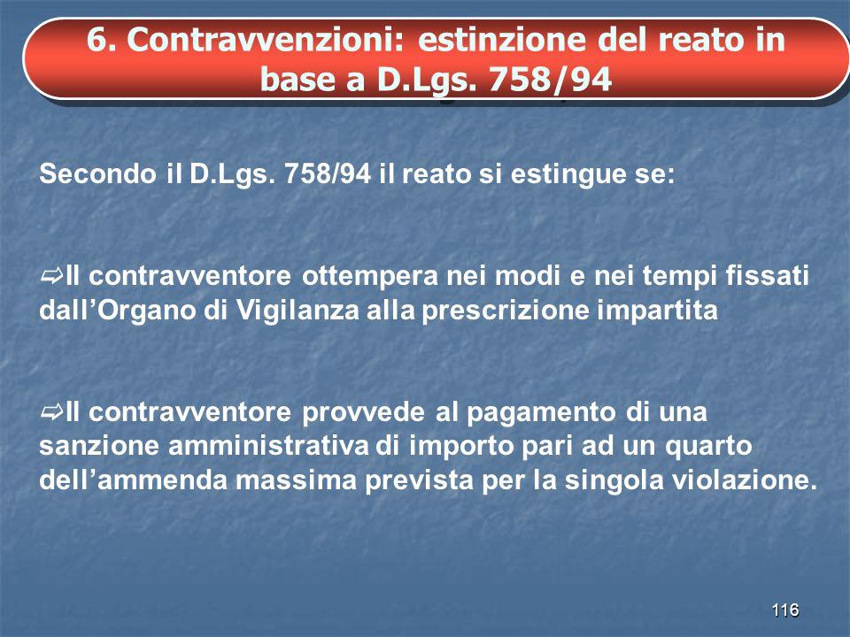 6. Contravvenzioni: estinzione del reato in base a D.Lgs. 758/94