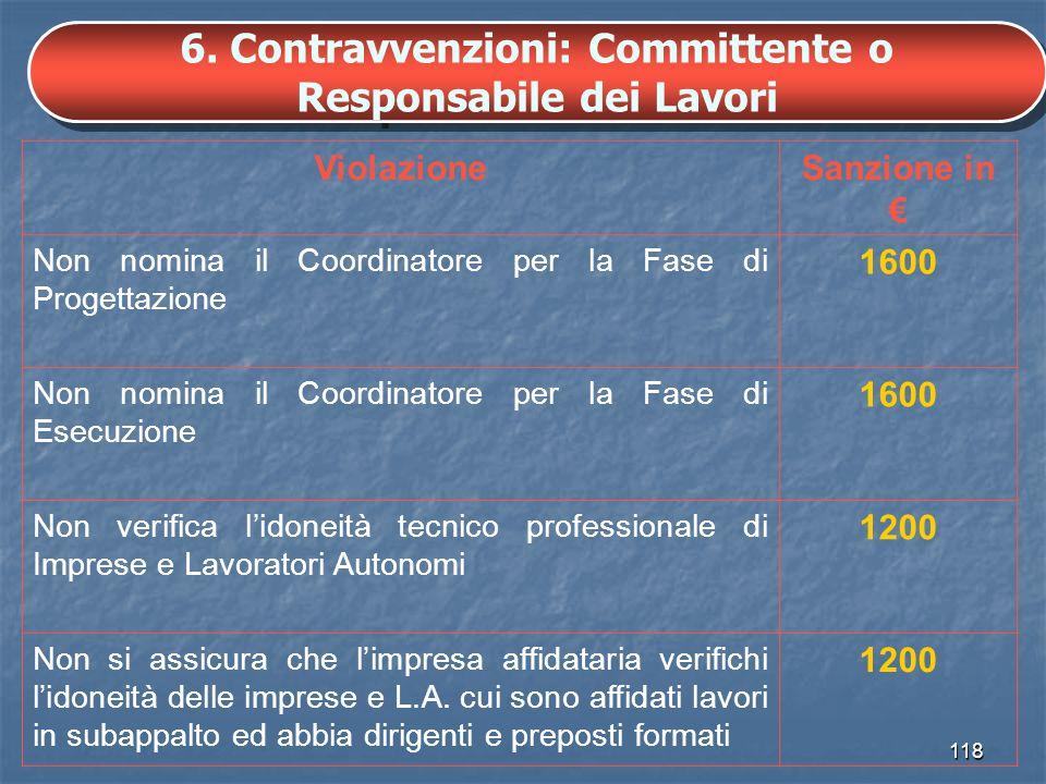 6. Contravvenzioni: Committente o Responsabile dei Lavori