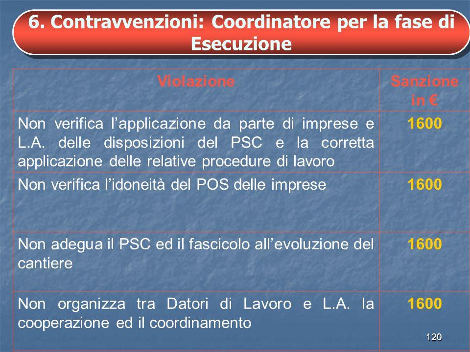6. Contravvenzioni: Coordinatore per la fase di Esecuzione