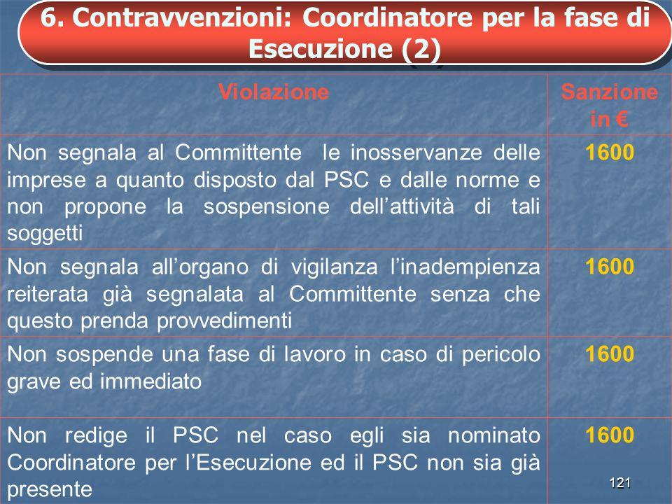 6. Contravvenzioni: Coordinatore per la fase di Esecuzione (2)