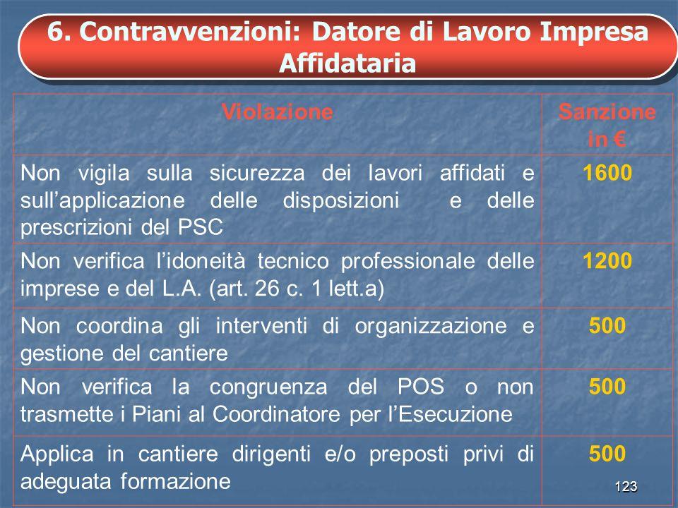 6. Contravvenzioni: Datore di Lavoro Impresa Affidataria