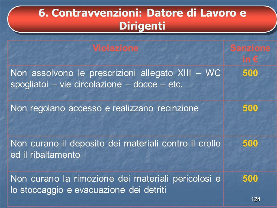 6. Contravvenzioni: Datore di Lavoro e Dirigenti