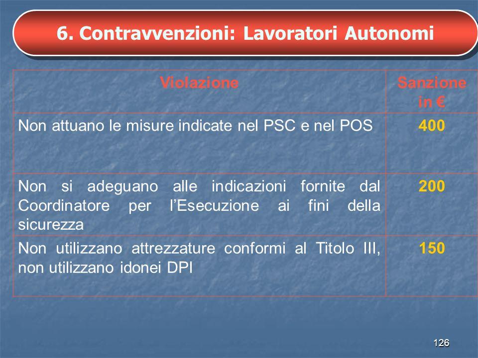 6. Contravvenzioni: Lavoratori Autonomi