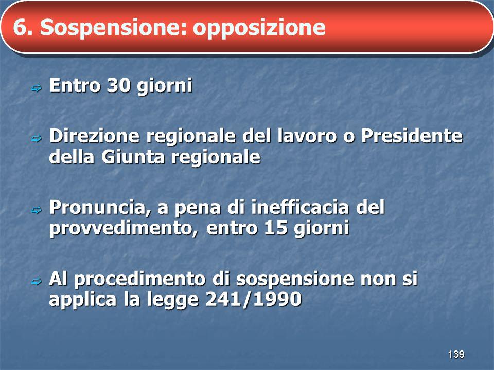 6. Sospensione: opposizione