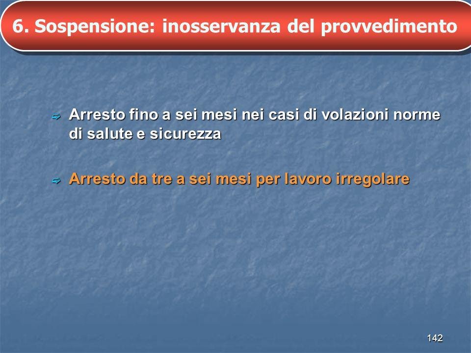 6. Sospensione: inosservanza del provvedimento