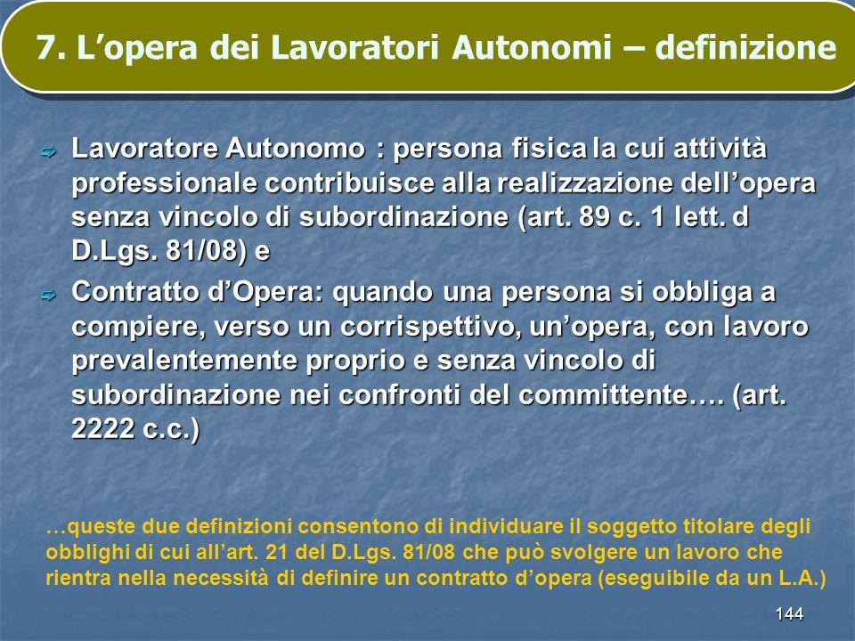 7. L'opera dei Lavoratori Autonomi – definizione