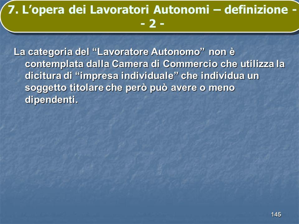 7. L'opera dei Lavoratori Autonomi – definizione -- 2 -