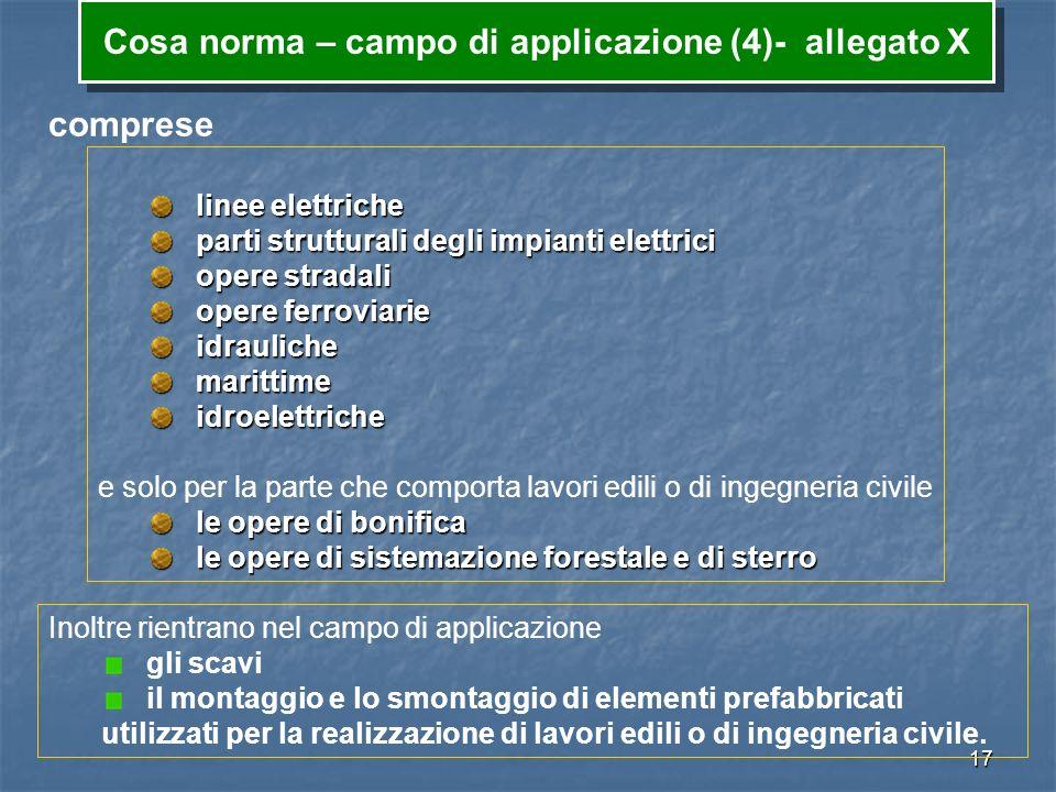 Cosa norma – campo di applicazione (4)- allegato X