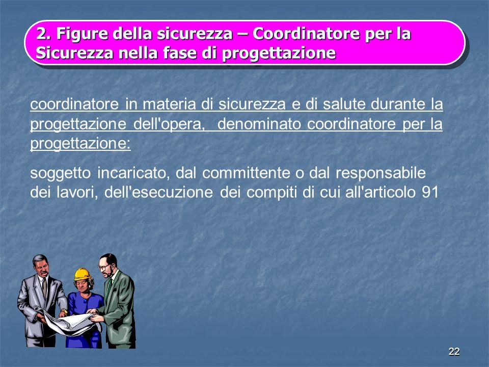 2. Figure della sicurezza – Coordinatore per la Sicurezza nella fase di progettazione