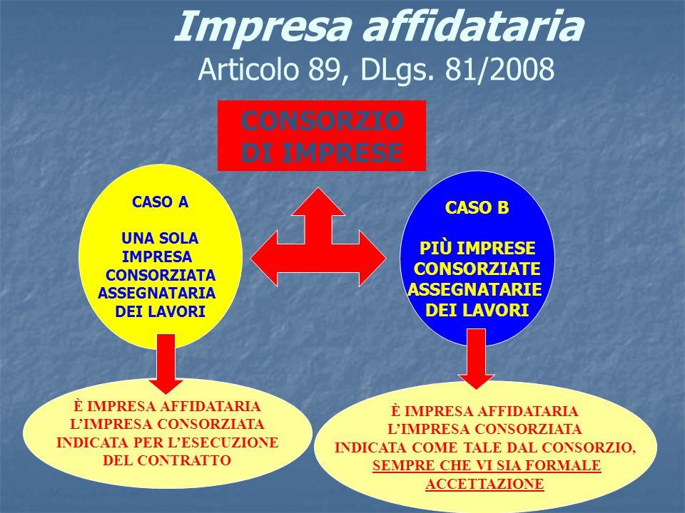 Impresa affidataria Articolo 89, DLgs. 81/2008