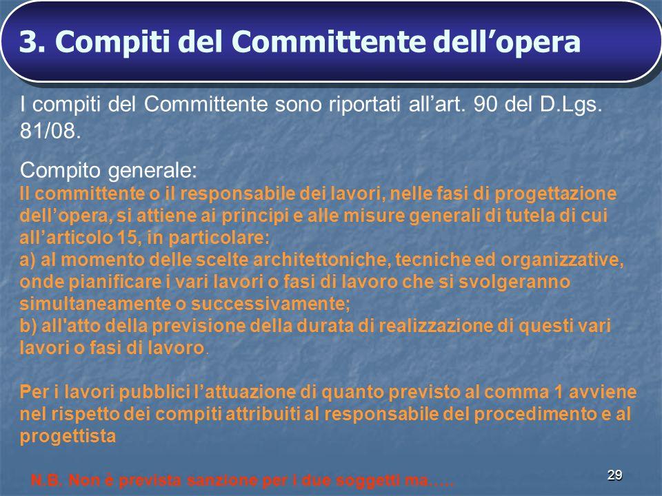 3. Compiti del Committente dell'opera