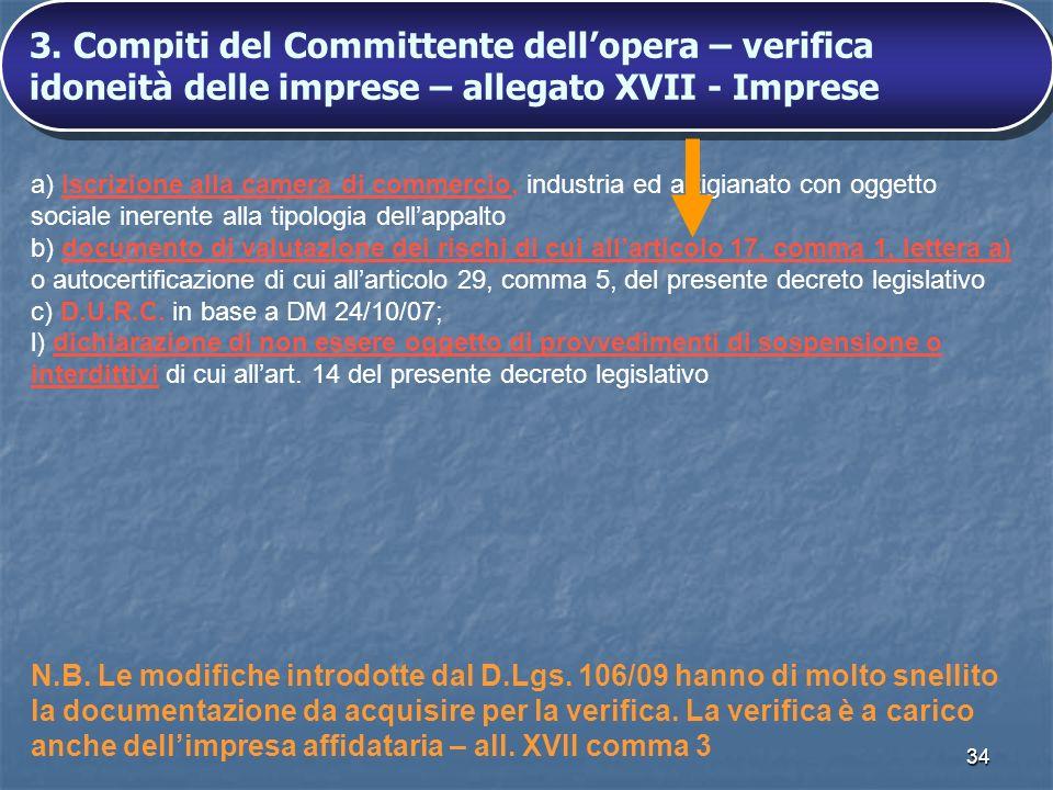 3. Compiti del Committente dell'opera – verifica idoneità delle imprese – allegato XVII - Imprese