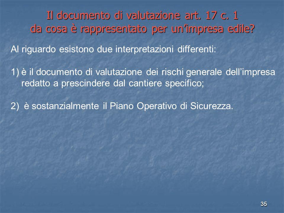 Il documento di valutazione art. 17 c
