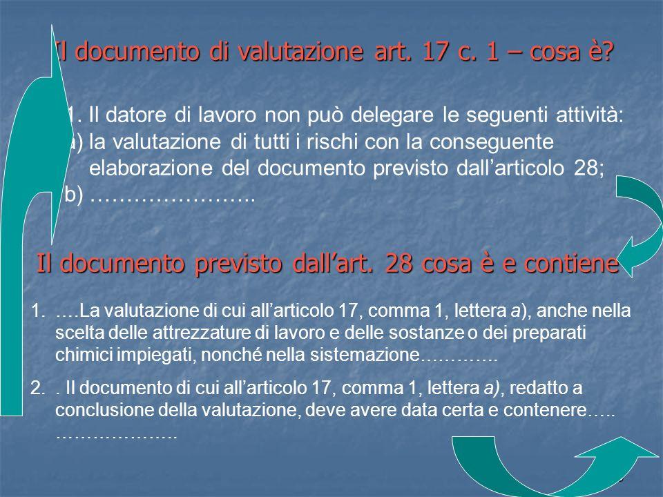 Il documento di valutazione art. 17 c. 1 – cosa è