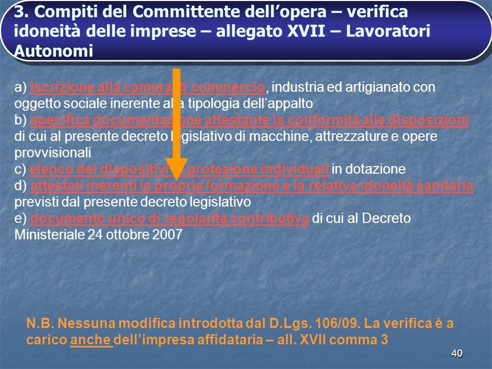 3. Compiti del Committente dell'opera – verifica idoneità delle imprese – allegato XVII – Lavoratori Autonomi