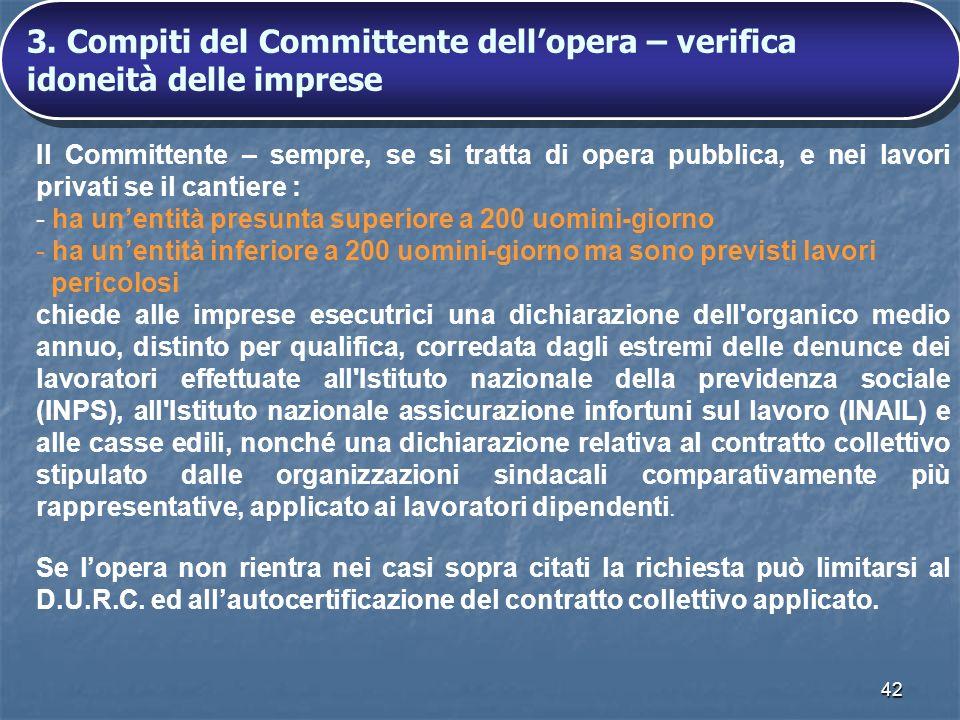 3. Compiti del Committente dell'opera – verifica idoneità delle imprese