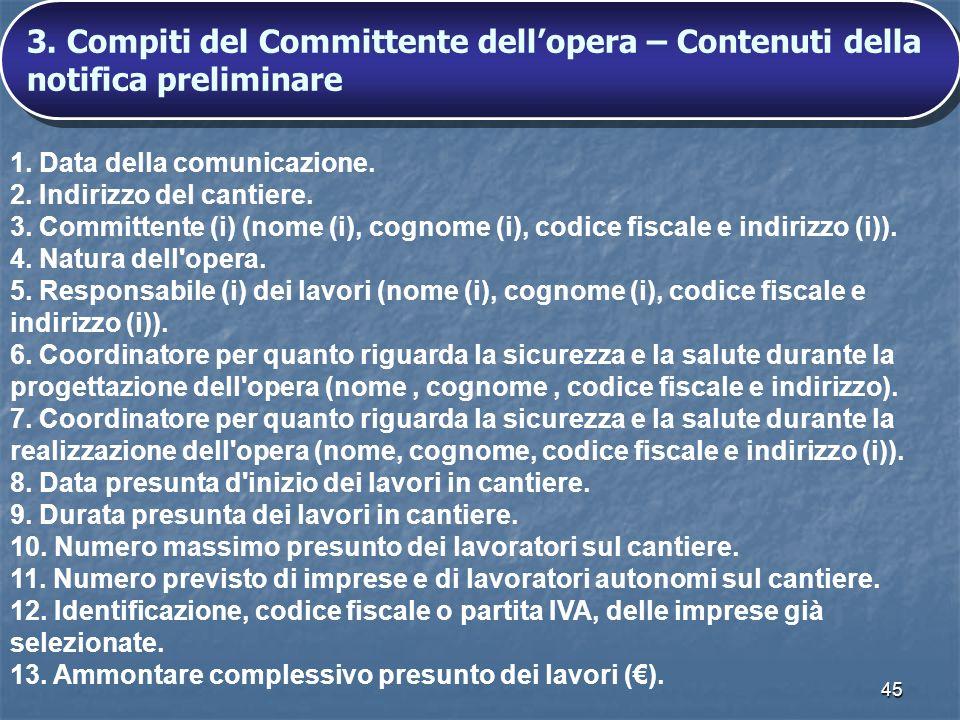 3. Compiti del Committente dell'opera – Contenuti della notifica preliminare