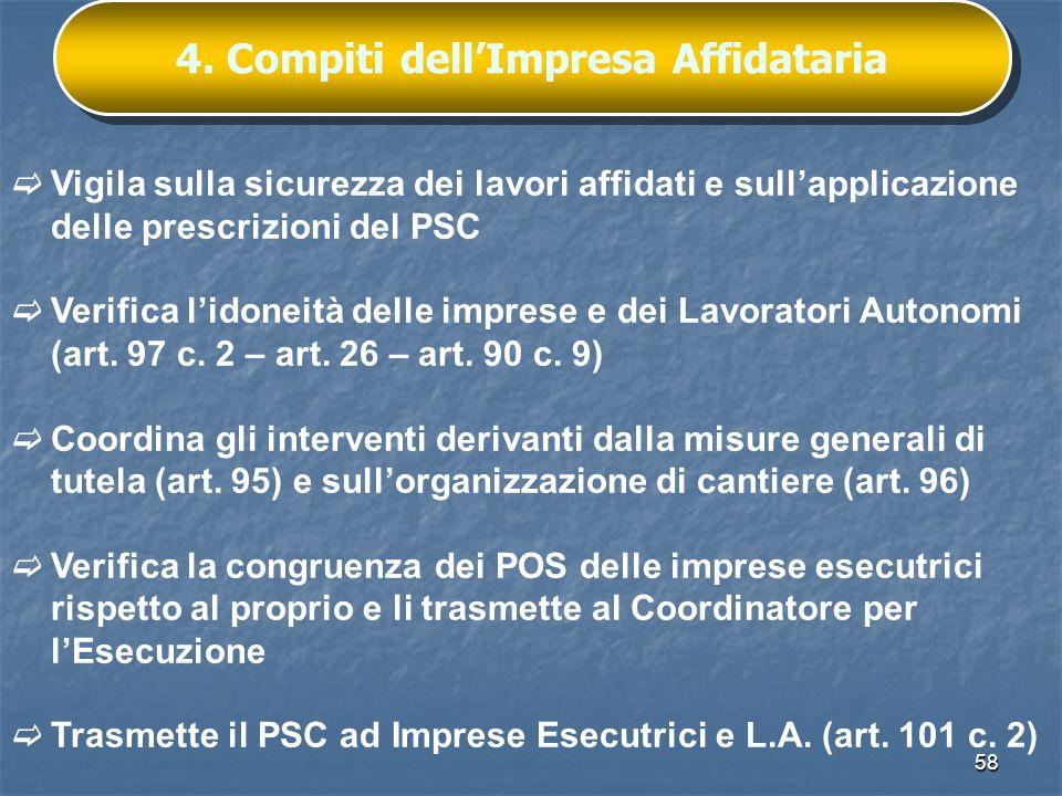 4. Compiti dell'Impresa Affidataria