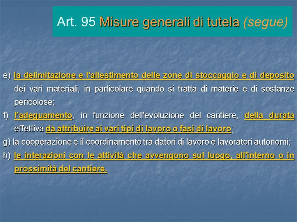 Art. 95 Misure generali di tutela (segue)