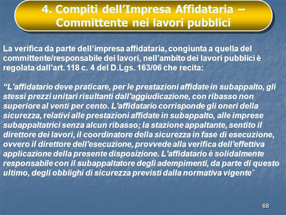 4. Compiti dell'Impresa Affidataria – Committente nei lavori pubblici